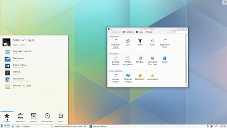 KDE Plasma 5.0 с темой Breeze